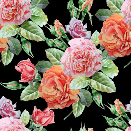 famous paintings: Seamless pattern with roses. Watercolor illustration. Hand drawn
