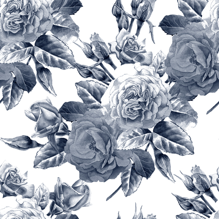 hand illustration: Seamless pattern with roses. Watercolor illustration. Hand drawn