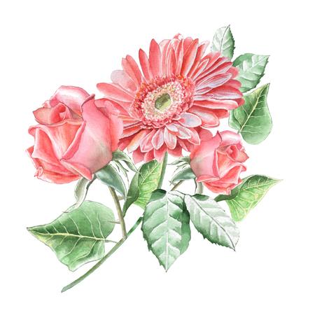 꽃과 꽃 카드입니다. 장미 꽃. gerbera입니다. 수채화 그림 손으로 그린