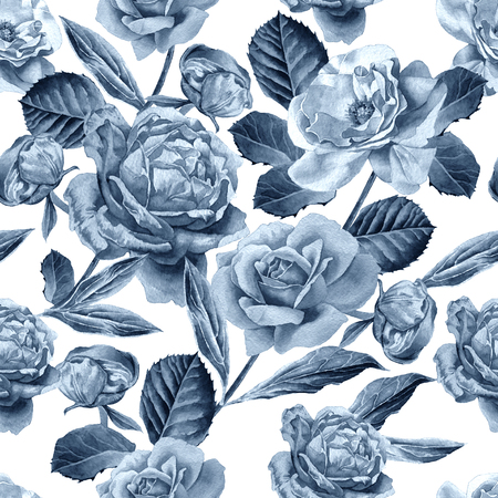 hand drawn rose: Seamless pattern with roses. Watercolor illustration. Hand drawn