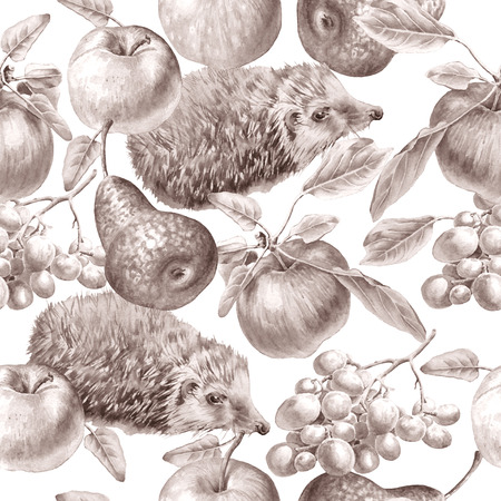 vine pear: Monochrome seamless pattern with fruits and hedgehog. Apple, grapes and pear.Watercolor illustration. Hand drawn