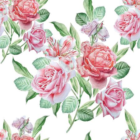 bouquet de fleurs: Seamless avec des fleurs. Alstroemeria. Se leva. dessiné Aquarelle main