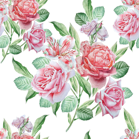 rose: Seamless pattern with flowers. Alstroemeria. Rose. Watercolor Hand drawn Stock Photo