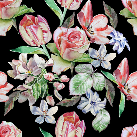 Seamless pattern with spring flowers. Rose. Tulip. Hyacinth. Watercolor.
