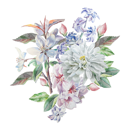 Vintage card with spring flowers. Watercolor. Stock Photo