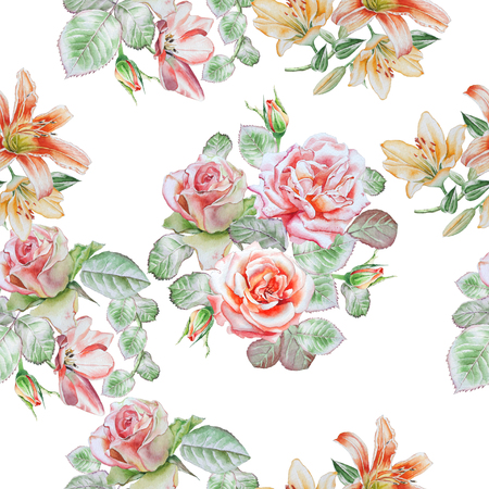 lilia: Seamless pattern with spring flowers. Rose. Tulip. Lilia.  Watercolor. Stock Photo