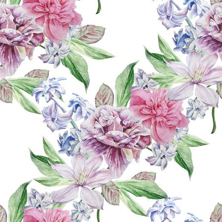 Modèle sans couture avec des fleurs de printemps. Pivoine. Clématite. Jacinthe. Banque d'images - 74769112