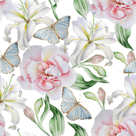 Seamless pattern with flowers. Rose. Lilia. Butterfly. Watercolor illustration.