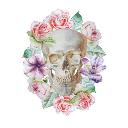 Skull and flowers. Watercolor illustration. Фото со стока