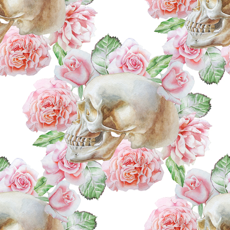 Seamless pattern with skull and flowers. Watercolor illustration. Фото со стока