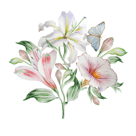 lilia: Floral card with flowers. Lilia. Alstroemeria. Butterfly. Watercolor illustration.