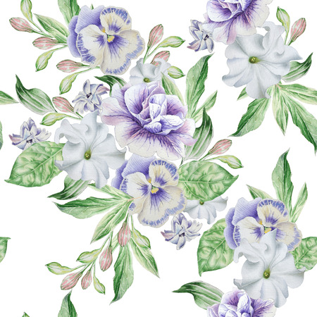 Seamless pattern with beautiful flowers. Petunia. Pansies. Stock Photo