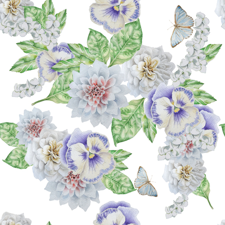Seamless pattern with beautiful flowers and butterfly. Pansies. Peony.