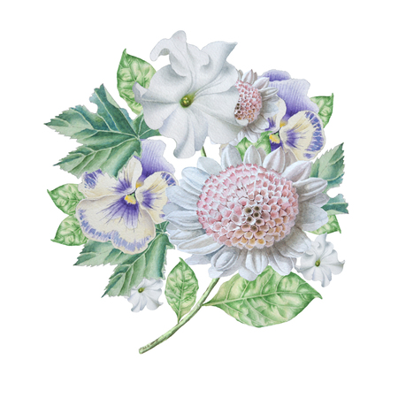 Watercolor bouquet with flowers. Petunia. Pansies.