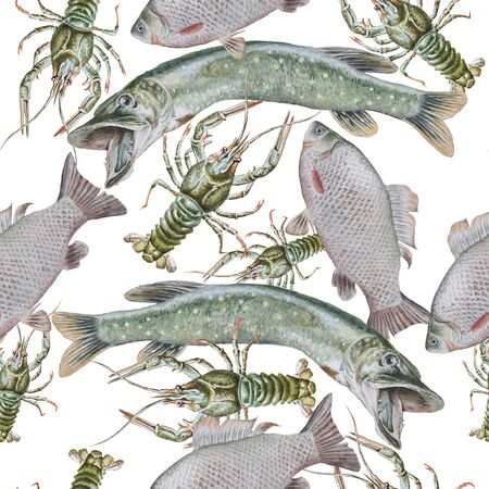Seamless pattern with canser and fish. Crucian. Pike. Watercolor illustration