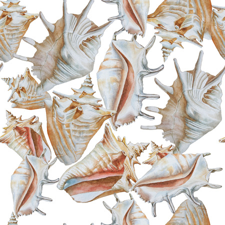 Seamless pattern with different shells. Watercolor illustration.