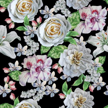 Seamless pattern with beautiful flowers. Rose. Peony. Lilia Watercolor illustration