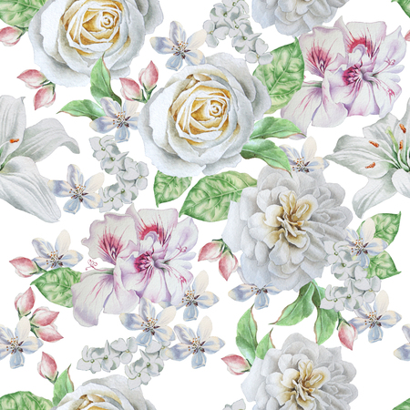 lilia: Seamless pattern with beautiful flowers. Rose. Peony. Lilia Watercolor illustration