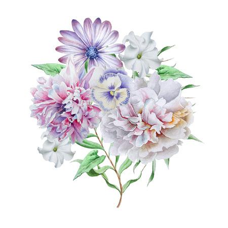 Acquerello con bouquet di fiori. Peonia. Petunia. Viole del pensiero. Disegnato a mano. Archivio Fotografico - 81915840