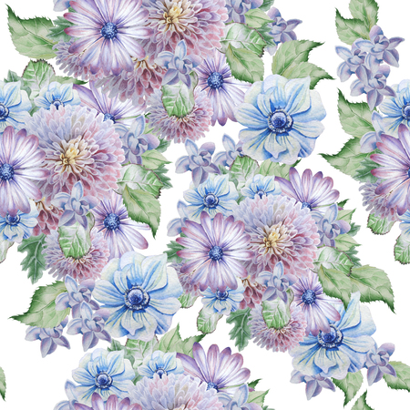 Seamless pattern with flowers. Peony. Anemone .Watercolor illustration Hand drawn