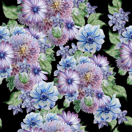 꽃과 원활한 패턴입니다. 모란. 말미잘 .Watercolor 그림 손으로 그린