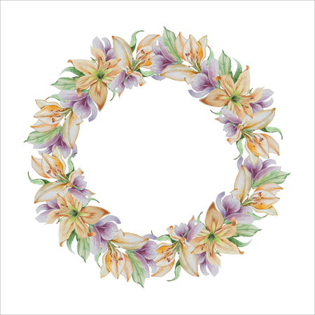 Wreath with different flowers. Lilia. Blossom. Watercolor Hand drawn