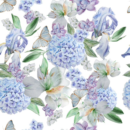 Seamless pattern with flowers. Iris. Alstroemeria. Hydrangea. Butterflies Watercolor illustration Hand drawn