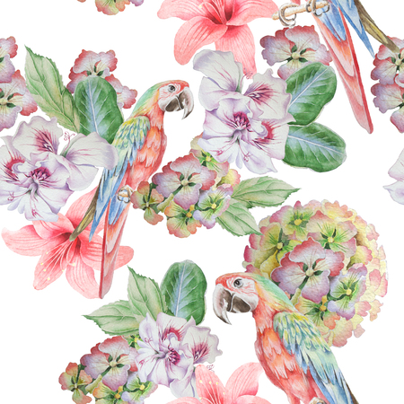 Seamless pattern with parrot and flowers. Watercolor illustration. Hand drawn
