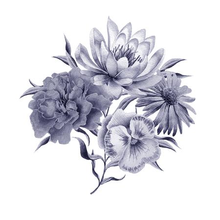 Bouquet di acquerello con fiori. Giglio. Calendula. Viole del pensiero. Disegnato a mano. Archivio Fotografico - 83234264