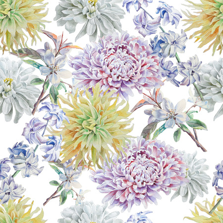 Seamless pattern with flowers. Chrysanthemum. Hyacinth, Peony Watercolor Hand drawn Stok Fotoğraf