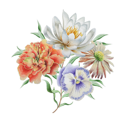 Watercolor bouquet with flowers. Lily. Marigold. Pansies Hand drawn Фото со стока