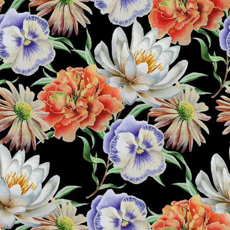 Seamless pattern with flowers. Lily. Marigold. Pansies. Watercolor illustration Hand drawn Stock Photo
