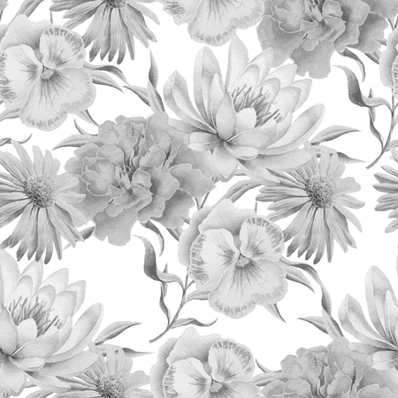 Monochrome seamless pattern with flowers. Lily. Marigold. Pansies. Watercolor illustration Hand drawn Фото со стока