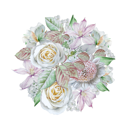Watercolor bouquet with flowers. Rose. Clematis. Lilia Hand drawn illustration Stock Photo