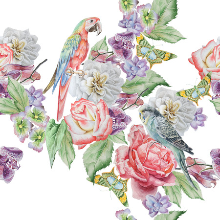 Seamless pattern with parrot, butterfly and flowers. Rose. Orchid. Watercolor illustration. Hand drawn Stok Fotoğraf