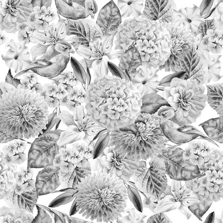 Monochrome seamless pattern with birds and flowers. Hydrangea. Rose. Lily. Petunia. Watercolor illustration. Hand drawn