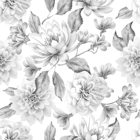 Monochrome seamless pattern with flowers. Lily. Rose. Watercolor Hand drawn Banco de Imagens