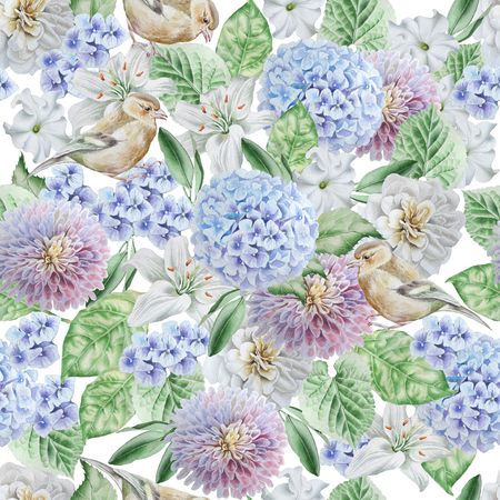 Seamless pattern with birds and flowers. Hydrangea. Rose. Lily. Petunia. Watercolor illustration Hand drawn