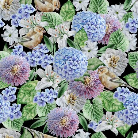 조류와 꽃 원활한 패턴입니다. 수국. 장미. 백합. 피튜니아. 수채화 그림 손으로 그린