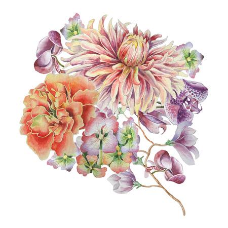 花の水彩画の花束。ダリア。マリーゴールド。蘭。手描き。 写真素材