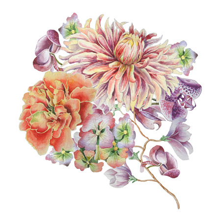 Watercolor bouquet with flowers. Dahlia. Marigold. Orchid. Hand drawn.