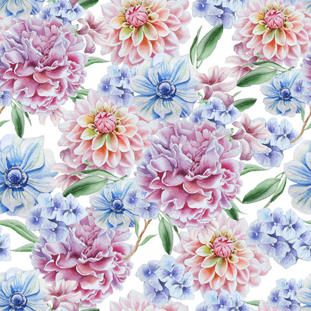 Seamless pattern with flowers. Dahlia. Anemone. Peony. Watercolor illustration. Hand drawn. Imagens