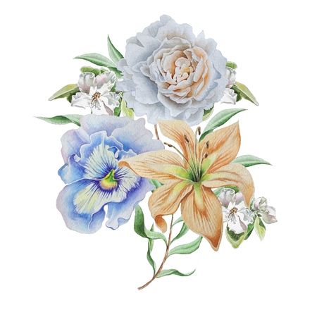 Watercolor bouquet with flowers. Lily. Pansies. Rose. Hand drawn.
