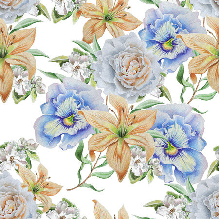 Seamless pattern with flowers. Lily. Pansies. Rose. Hand drawn. Фото со стока