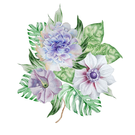 Watercolor bouquet with flowers. Anemone. Petunia. Peony. Hand drawn. Stock Photo