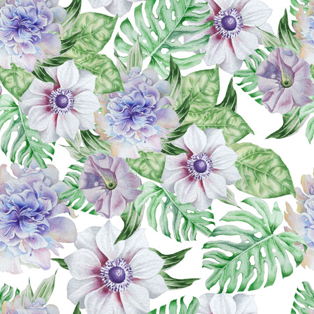 Seamless pattern with flowers. Anemone. Petunia. Peony. Watercolor illustration. Hand drawn.