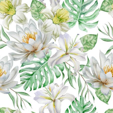花のシームレスなパターン。水仙。ユリ。モンステラ。水彩イラスト。手描き。