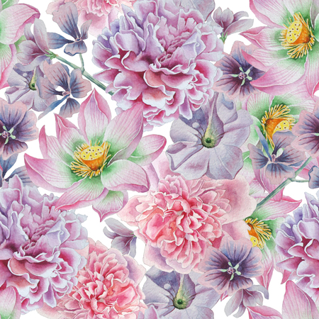 Seamless pattern with flowers. Peony. Lotus. Petunia. Watercolor illustration. Hand drawn.