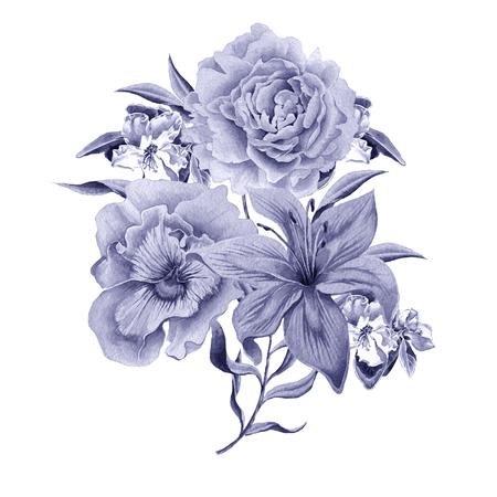 Acquerello con bouquet di fiori. Giglio. Viole del pensiero. Rosa. Disegnato a mano. Archivio Fotografico - 83355780
