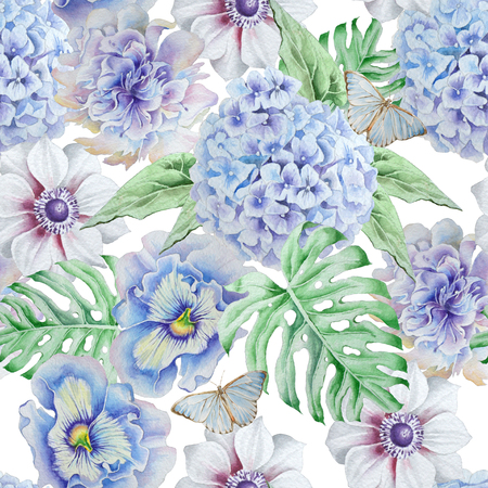 Seamless pattern with flowers. Monstera. Anemone. Pansies. Hudrangeya. Watercolor illustration. Hand drawn.